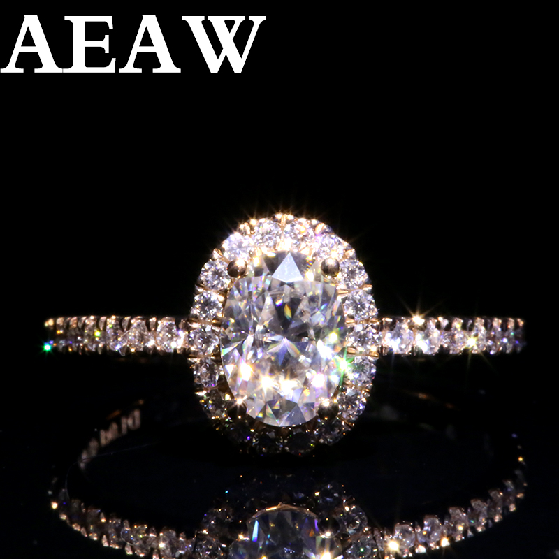 AEAW 14K White Gold Halo Moissanite Ring 1.0ct 3ct  Oval Cut Brilliant Moissanite Engagement Ring For Women