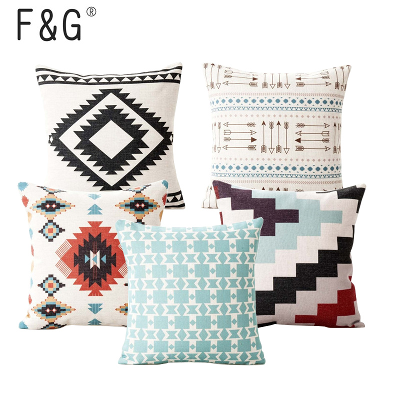 Nordic Black And White Sofa Cushions Cover Linen Bohemian Ethnic Throw Pillows Cover Grey Decoration Geometric Pillow Cover