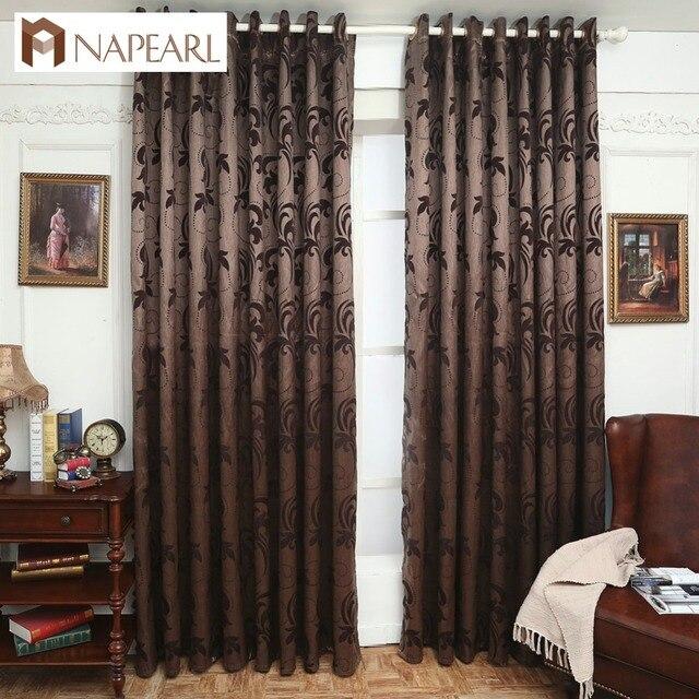 Jacquard curtains leave design brown curtain fabrics window ...