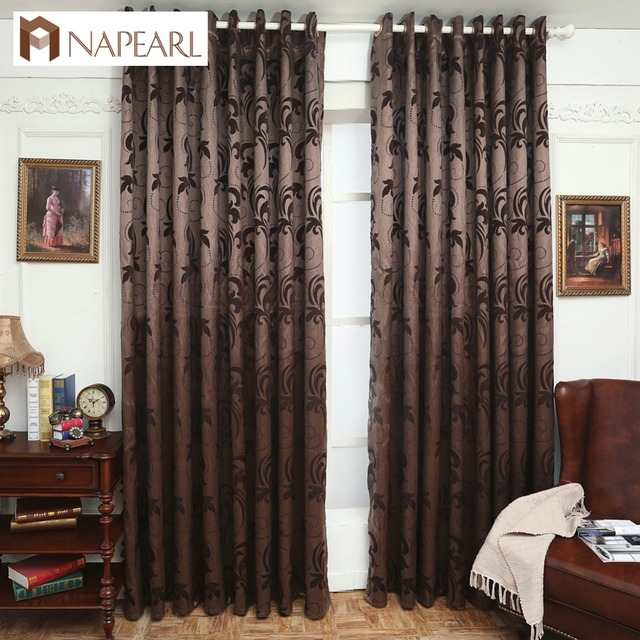 Napearl Jacquard Curtains Leave Design Brown Curtain Fabrics Window Treatments For Living Room Panel Shade
