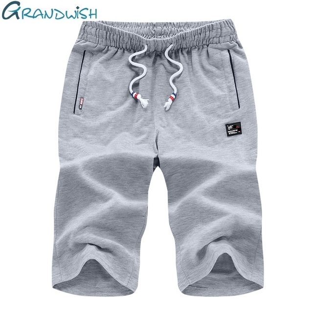 Grandwish Mens Shorts Summer M-6XL Breathable Male Bermuda Solid Elastic Waist Casual Short Pants Fashion Knee Length, DA516