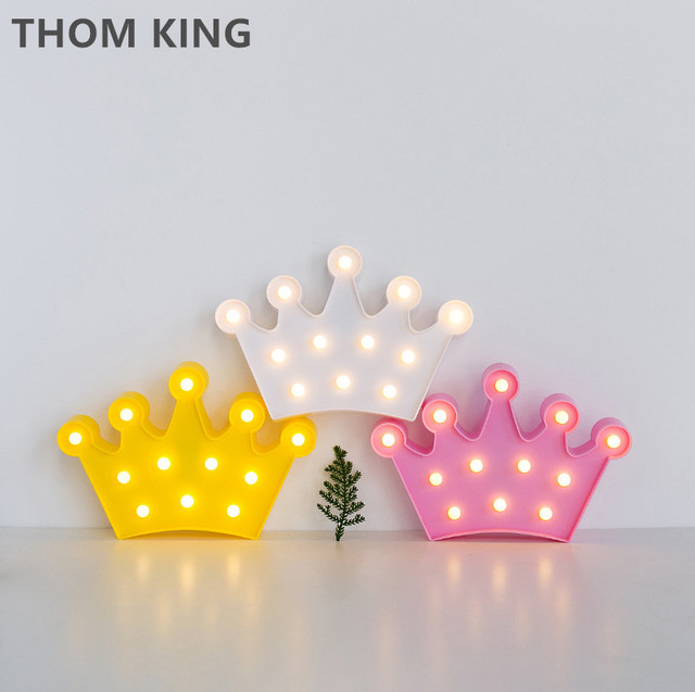 THOM KING Letter Light Cute Crown Shape Plastic 2xAA Battery LED Light For  Home Decoration Bedroom