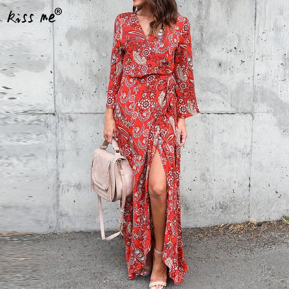 Women Long Desses Print Floral Long Sleeve V Neck Women Dress Robe High Waist Side Split Vestidos Lace Up Christmas Dress XL XXL