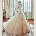 Najowpjg 2017 New Arrive Sexy Boat Neck Champagne Wedding Dress Fashion Appliques Vestide Luxury Chapel Train Ball Gown Hot Sale