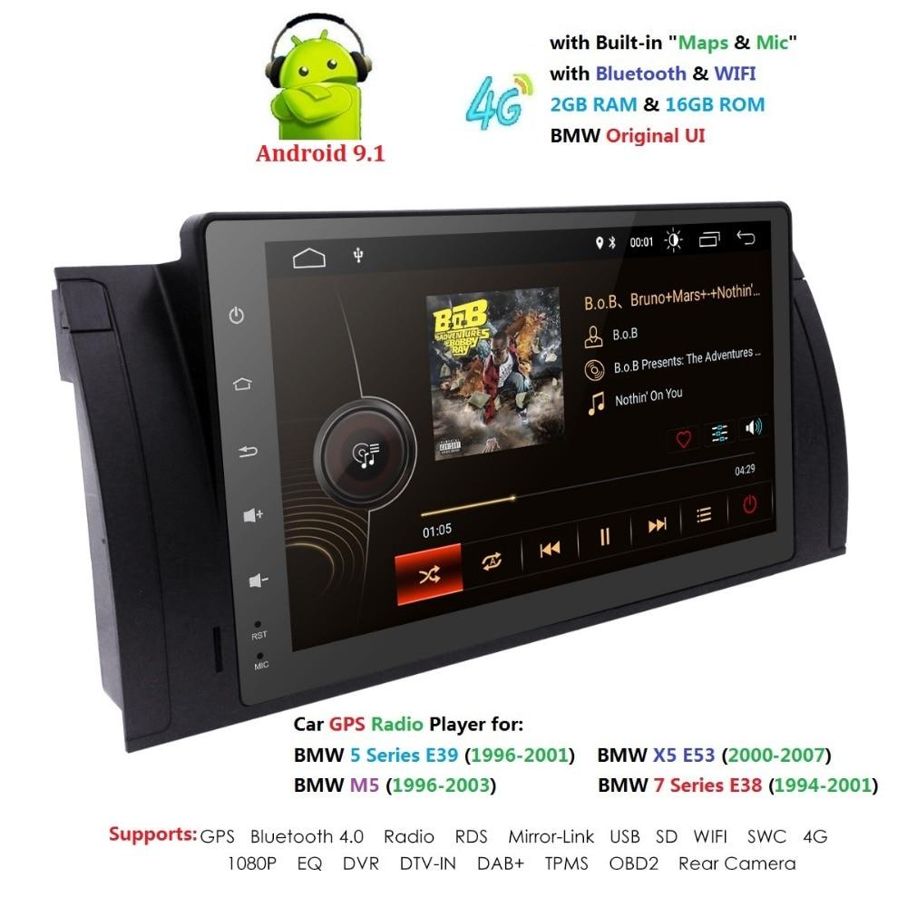 9 pouces 1024x600 HD écran tactile 1 din Android 9.1 voiture multimédia Radio stéréo pour BMW E39 E53 X5 Wifi 4G Bluetooth DVR RDS USB - 3