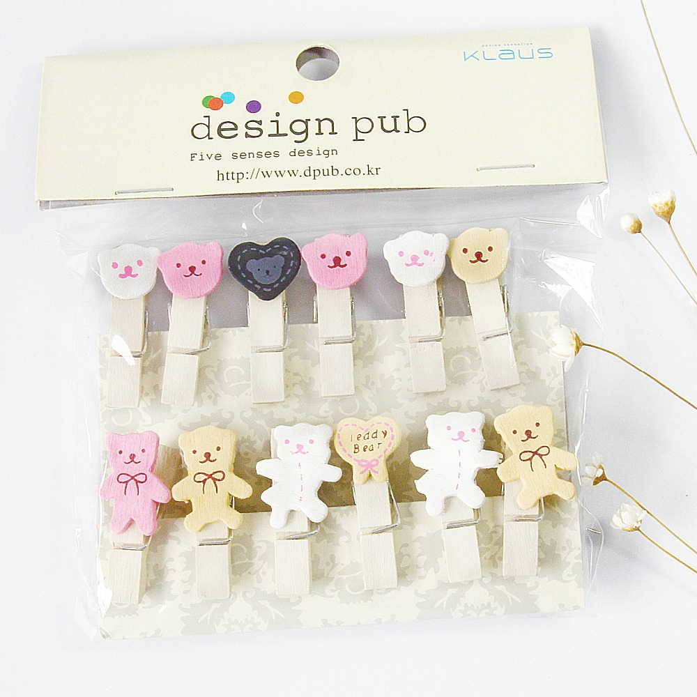 12 Pcs/lot Lovely Bear Wooden Clip Photo Paper Clothespin Craft Clips Party Decoration Clip With Hemp Rope