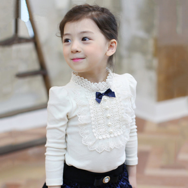 Girl Lace Shirt Child Clothing Blouse Kids Clothes 2-10Y Children Cloth School Girls Kids Cotton Shirt Wedding Party Dress