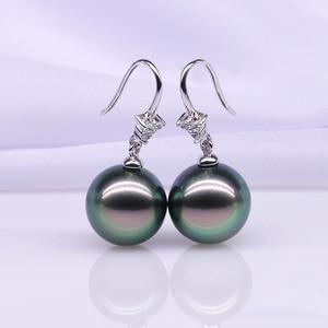 Image 5 - YS 18K Solid Gold Earring 8 9mm Black Tahitian Pearl Drop Earrings Wedding Fine Jewelry