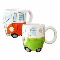 Household Creative Hand Painting Ceramic Cup Single Layer Cartoon Bus Painting Vintage Style Car Mug Fine