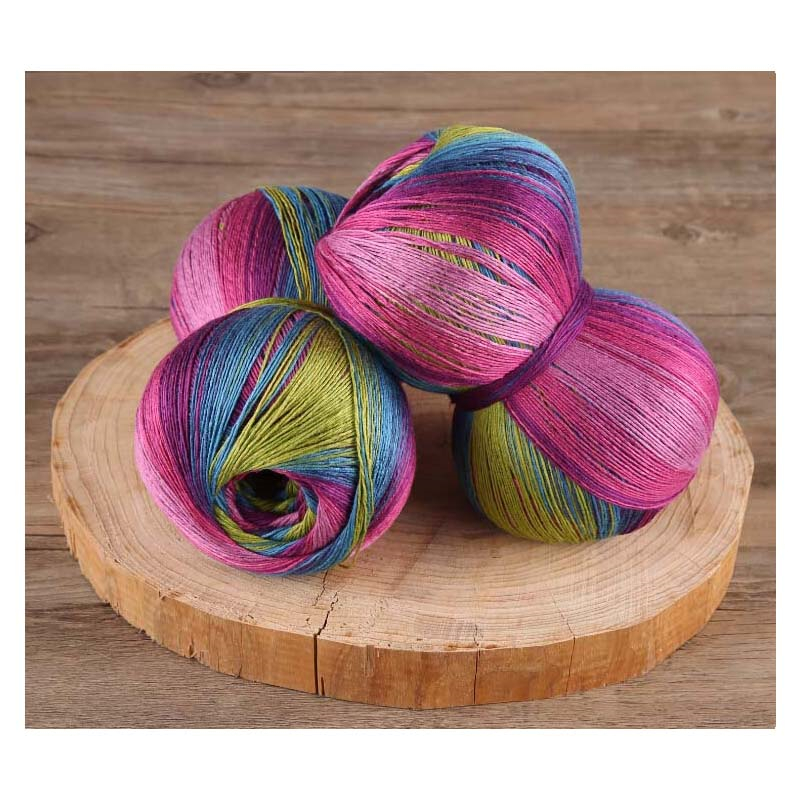 Lanas 250g/Lot Natural Bamboo Knitting Lace Crochet Yarn Luxury Space Dyed Summer Dresses Coat Hand Kint Yarn Laine A Tricoter