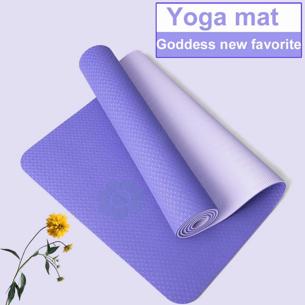 No-slip Yoga Mat Yoga Mats With Free Bag Strap For Fitness Pilates Gym Environmental Tasteless Tpe Sport Pads 183*61*6mm/8mm Ropa, Calzado Y Complementos