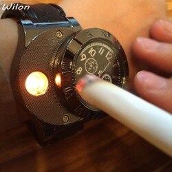 Relógio masculino mais leve relógios de quartzo militar carregamento usb f665 esportes quentes casual relógios de pulso à prova de vento cigarro mais leve