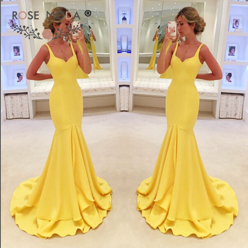 Sweetheart Yellow Mermaid   Evening     Dress   with Straps Floor Length Formal Party   Dress   Tiered Skirt Custom Made