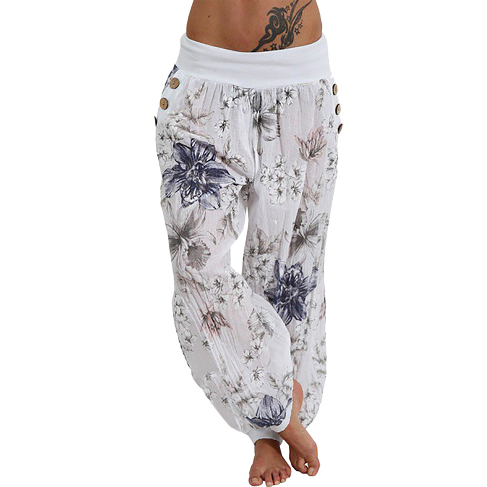 LNCDIS NEW HOT Fashion Women Casual Print Pants Wide Leg Pants Loose Pocket Button Harem Pants  Wholesale Freeship N4