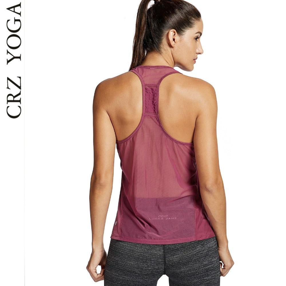 CRZ YOGA Women's Sleeveless Sport T shirt Loose Fit Mesh ...