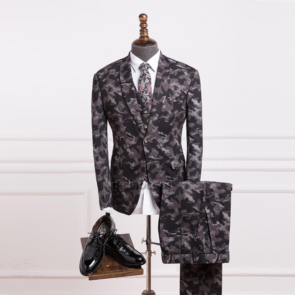 Geliaocong Brand Men Camouflage Retro Grey Black Tweed British Style Shawl Lapel Mens suit Tailor Slim Fit Blazer Coat 3 Pieces