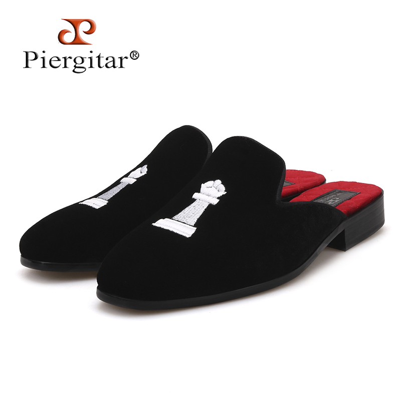 Piergitar 2018 same style couple shoes Chess embroidery women velvet shoes fashion party and wedding women slippers half designsPiergitar 2018 same style couple shoes Chess embroidery women velvet shoes fashion party and wedding women slippers half designs