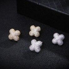 Трендовые женские серьги в форме треугольника, цветка, геометрические серьги с кубическим цирконием для свадебной вечеринки, ювелирные изделия для девушек E3999