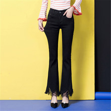 Lace denim jeans casual flare pants for women plus size new fashion capris cotton blend autumn spring trousers female tyn0721