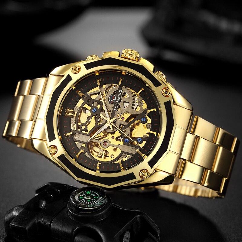 7ea1a084fe8 FORSINING Relógio Dos Homens de Aço Inoxidável Esqueleto Relógios Dos Homens  Auto Mecânica Winding Esporte Moda