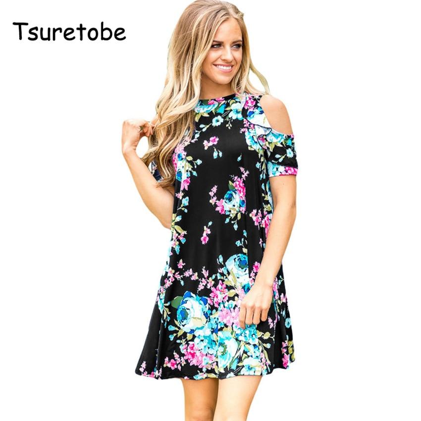Tsuretobe женские свободные строки элегантное платье хлопок o-образным вырезом короткий рукав повседневные милые платья с принтом красные, черн...
