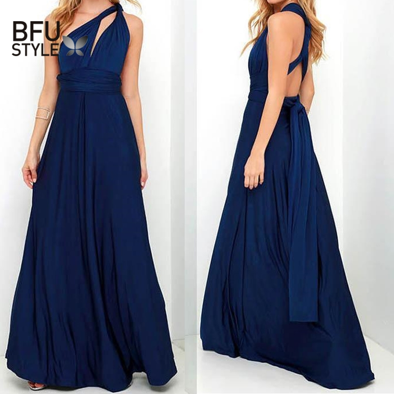3b0db18613 Sexy Long Dress Bridesmaid Formal Multi Way Wrap Convertible Infinity Maxi  Dress Navy Blue Hollow Out Party Bandage Vestidos-in Dresses from Women's  ...