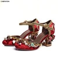 Carpaton новый в народном стиле ретро кристалл аппликации сандалии мода цветочный горшок каблуки красный свадебные туфли show вышитые туфли
