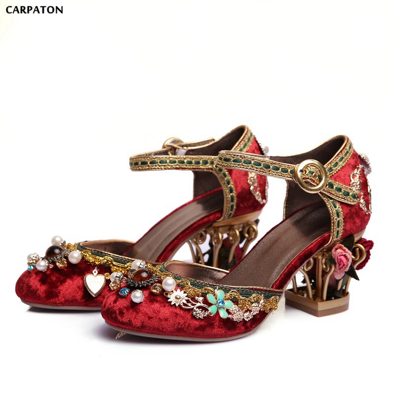 Carpaton New Folk-custom Retro Crystal Appliques Sandals Fashion flower pot heels Red Wedding Shoes Show Embroidered shoes bardot embroidered appliques crop top