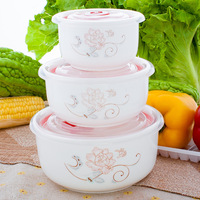 Sealed Ceramic Preservation Bowl Three piece Set Microwave Preservation Boxes lunch box for kids bento box