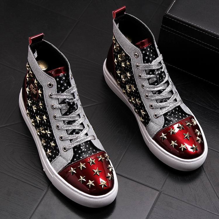 ERRFC Personalized Fashion Men High Top Casual Shoes Luxury Star Rivets Charm Mixed Colors Ankle Boots Man Trending Leisure Shoe 1