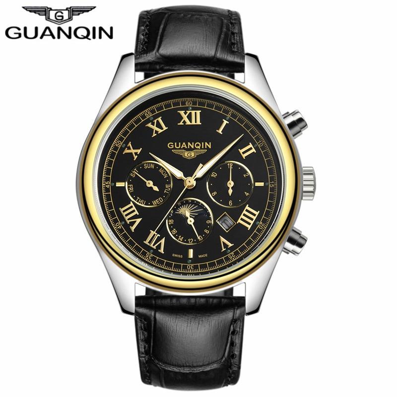 ФОТО GUANQIN GQ12001 Relogio Masculino 2017 Watches Men Luxury Brand Quartz Watch Clock Watch Reloj Men Casual Business