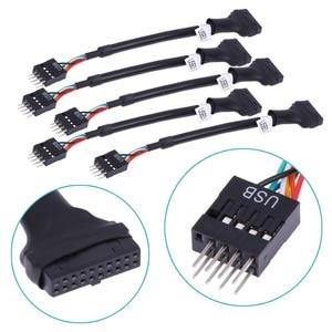 Кабель-адаптер для материнской платы 20Pin 19Pin USB 3,0 Female To 9Pin USB 2,0 Male, 480 Мбит/с, скорость передачи данных, компьютерные кабель-Коннекторы