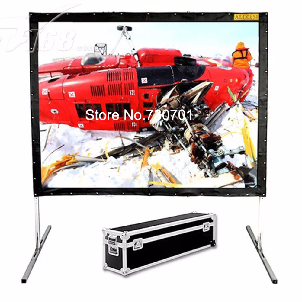 Hot selling 84 inch 16:9 format Fast Quick Fold Projector screen for many size front and rear projection screen hd projector projection screen 300inch 16 9 format outdoor fast folding frame screens for camping music party