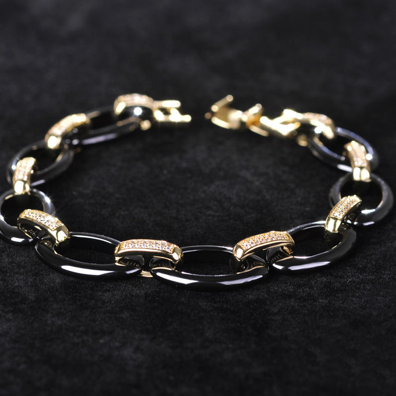 Dazz Oval Cubic Zircon Ceramic Bracelets For Women Charm Pulseras Mujer Gold Soft Copper Men Bracelet China Porcelain Jewelry