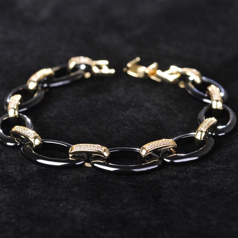 Dazz Ovale Cubique Zircon Bracelets En Céramique pour les Femmes Charme Pulseras Mujer Or Doux Cuivre Hommes bracelet Chine Porcelaine Bijoux