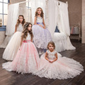 2017 Tulle Appliques Beaded Flower Girls Dress Long First Communion Dresses New Girls Pageant Dresses For Wedding