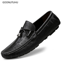 2019 new spring fashion men's shoes casual genuine leather loafers man slip on shoe classic trending brown & black shoes for men