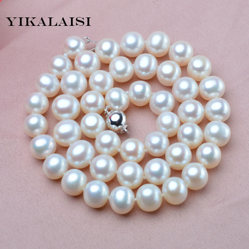 YIKALAISI 2017 9 10mm Natural Freshwater Pearl choker Necklace 925 sterling silver jewelry real Pearl Necklace