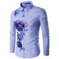 Personalized Design Hot Sale Shirt For Men 2016 Autumn New Floral Pattern Fashion Mens Clothes Slim fit Men Charm Shirts 16C813