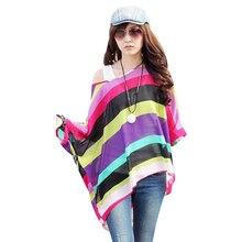 FGirl Women's t Shirt Crop Top Unique Rainbow Print Oversize Chiffon T-shirts for Women FG30539