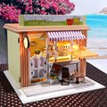 Brand New Hoomeda DIY Wood Dollhouse Cute Miniature With LED+Furniture+Cover Tea House Assembled Model Toys Home Decor