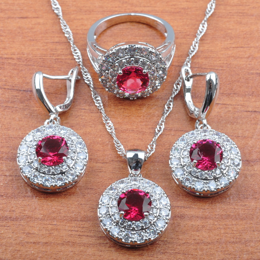High Quality Rose Red Zirconia Silver 925 Jewelry Sets Women Bridal jewelry Earrings Necklace Pendant Ring Sets JS0272