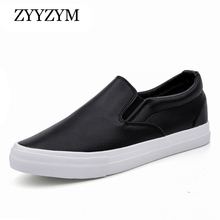 ZYYZYM Mens Shoes Spring And Autumn PU Leather Slip On Light Breathable Fashion Sneakers Vulcanized