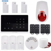 DIYSECUR Application Controlled Wireless GSM Home Burglar Alarm System, Smoke Sensor, Touch Screen M2G