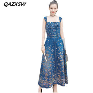 QAZXSW Style Straps Summer Denim Dresses Women s Clothing 2d594ddf42