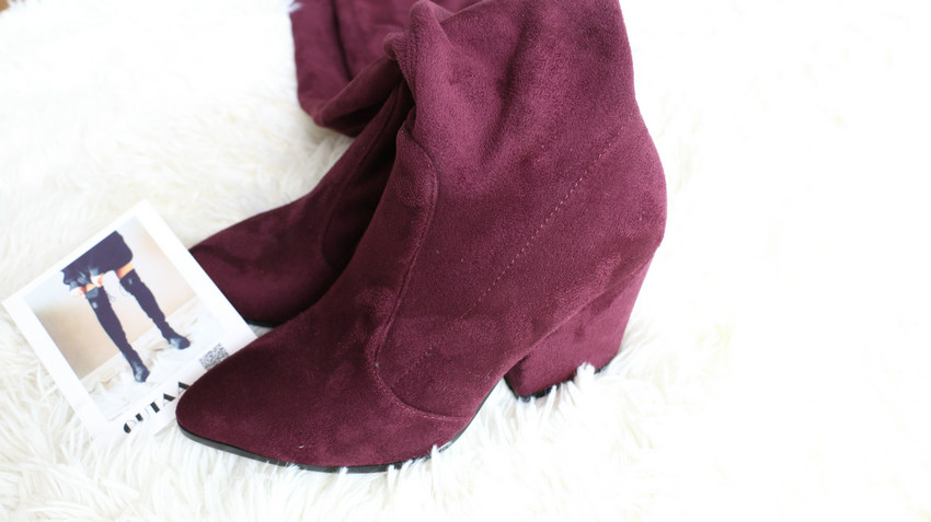 Women Hoof Heels Winter Shoes Pointed Toe Sexy Elastic Fabric Boots 38