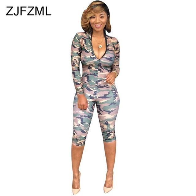 69c7b83a2dc ZJFZML Camo Printed Sexy Rompers Womens Jumpsuit Deep V Neck Long Sleeve  Nightclub Party Bodysuit Autumn Slim One Piece Playsuit