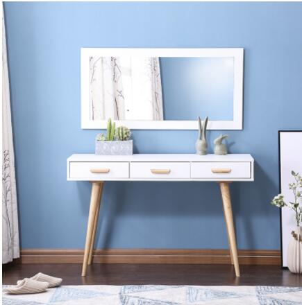 North European dressing table. Computer desk. Makeup desk wooden dressing table makeup desk with stool oval rotation mirror 5 drawers white bedroom furniture dropshipping