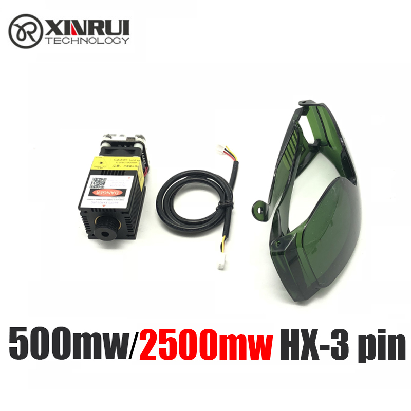 Real Power 500/1000/1600/2500mw 12v Real Power 445/405NM Focusing Blue Laser Module Engraving Laser Tube TTL PMW 3pins+goggles