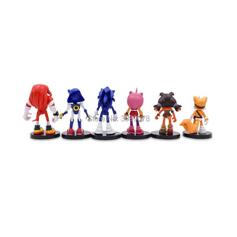 5 set/lote (6 pçs/set) jogo Do Sonic Sonic 9 cm Brinquedos Figura de Ação Nendoroid PVC Anime do Sonic Toy Presente Para Crianças Frete Grátis
